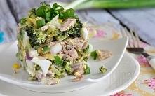 Sałatka z tuńczykiem, jajkiem i brokułami   przepis: Składniki: puszka tuńczy...