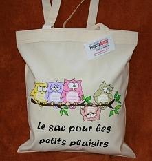 """sówki ręcznie malowana torba z sowami """"Le sac pour les petits plaisirs c..."""