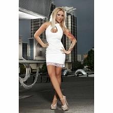 Biała sukienka skórzana Pamela