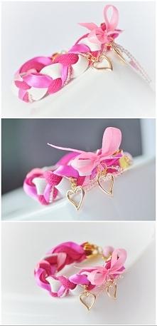 różowa bransoletka warkocz braccialeart@gmail.com