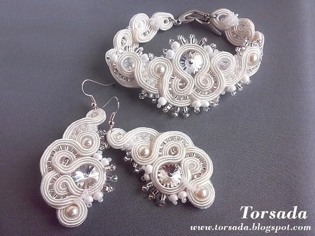 Komplet biżuterii ślubnej sutasz. TORSADA torsada.blogspot.com