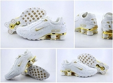 816KN90 2015 White Golden Mens Nike Shox Monster Shoes