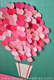 Kartka, praca plastyczna serduszkowy balon :)