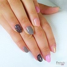 #sweetpink #grey #syrenka #gold #nails #nailsart #nailstagram #semilac #hybri...
