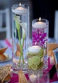 Świeczniki z kwiatami i owo...