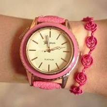 kliknij w zdjęcie :) Zestaw OTIEN. zegarek różowy ażurowy i różowa koronkowa ...