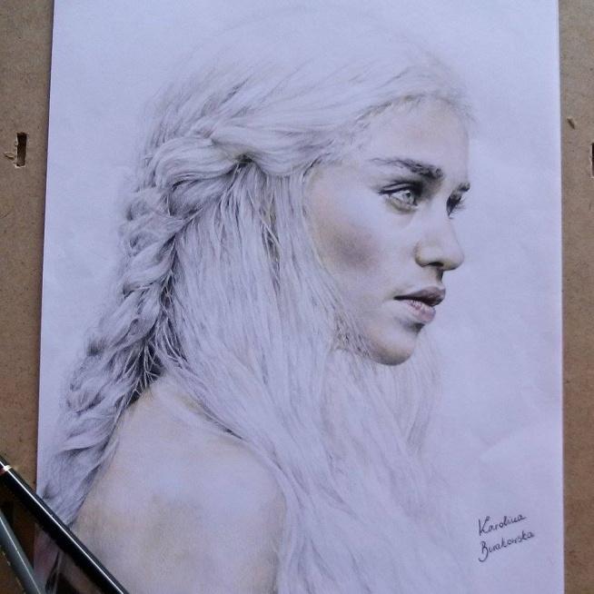 Nareszcie skończone :) Portret Daenerys Targaryen (Emilia Clarke) z Gry o Tron. Ktoś czytał/oglądał? --> rysunki,portrety na zamówienie: karolinaburakowskaa@gmail.com