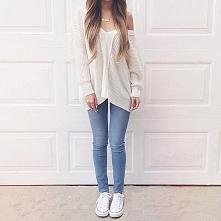 sweter i jeans