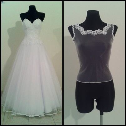 Suknia ślubna z bluzką zakładaną pod gorset. (przód)