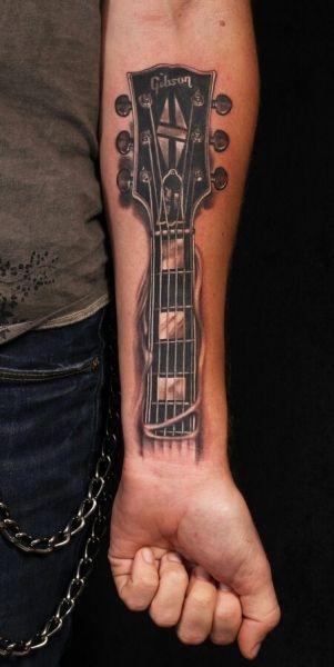 Tatuaże 3d Gitara Na Przedramieniu Na Tatuaże Zszywkapl