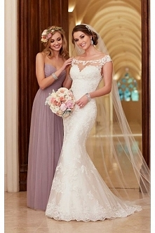 Stella York Satin Sheath illusion Neckline Wedding Dress Style 6118