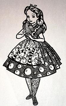 Zentangle Alicja z Krainy Czarów