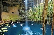 Cenote (naturalna studnia krasowa, utworzona w skale wapiennej, o krystalicznie czystej), ogrody Ikkil, Meksyk