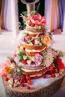 tort weselny kolorowy i kwi...