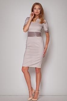 Ekskluzywna sukienka do kolan, ze skórzanym paskiem, beżowa