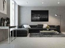 Piękny salon w biało czarny...