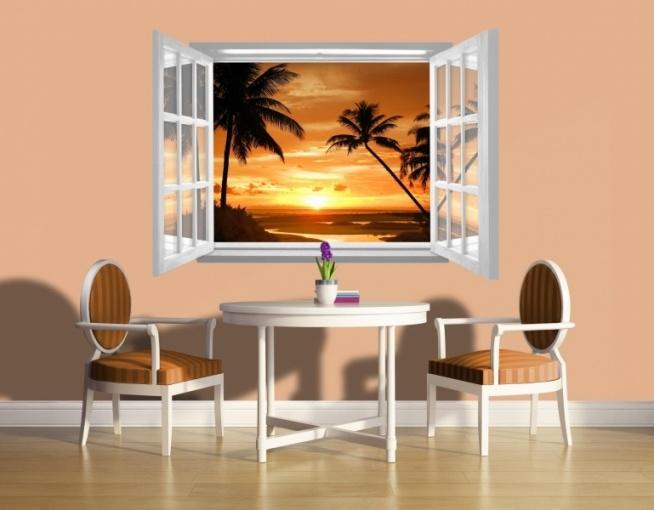 Fototapeta wycinana Consalnet 1061 - Zachód słońca, widok przez otwarte białe okno