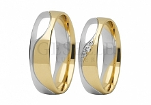 Najnowszy wzór - obrączki ślubne z białego i żółtego złota próby 585 z łezką ...