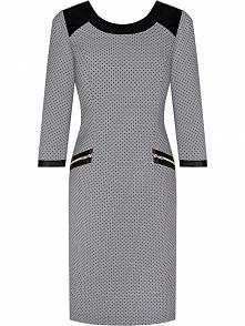 Elegancka Sukienka z modnymi suwakami, w kropki