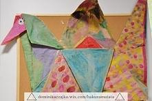 Szary papier + farby = wielki żuraw z origami.