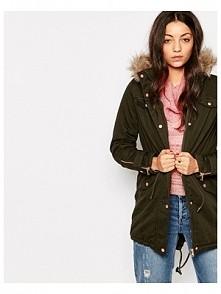 -42% Vero Moda Faux Fur Hooded Parka With Drawstring Detail