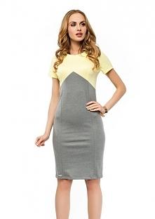 Ołówkowa sukienka, krótki rękaw, szaro-żółta