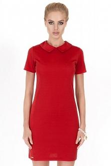 Klasyczna sukienka z kołnierzykiem, czerwona