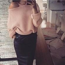 skóra + sweterek <3