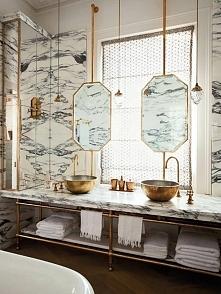 Łazienka marmur + miedź. Więcej inspiracji na blogu moojconcept .com ZAPRASZAM
