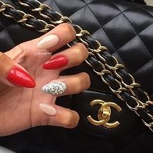 paznokcie#czerwień#beż