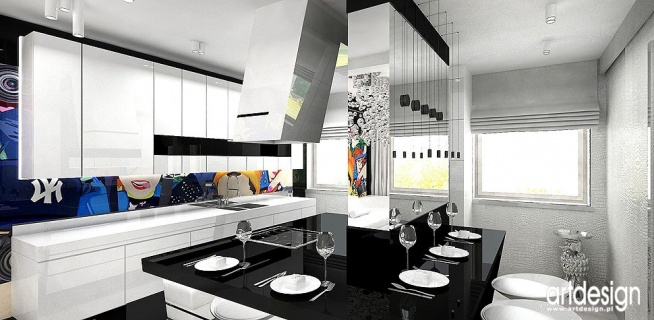 No Entry Projekt Apartamentu Kuchnia Z Wyspa Na Salon Jadalnia