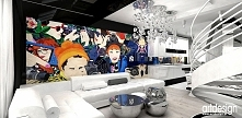 NO ENTRY | nowoczesny salon. We wnętrzu wykorzystano obrazy autorstwa Oli Osa...
