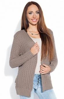 Fobya F113 sweter cappucino Klasyczny kardigan damski, niezapinany, długi rękaw