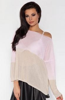 Fobya F178 sweter beżowy Modna bluzka, wykonana z cienkiej dzianiny, fason ov...