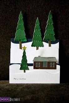 Schodkowa kartka świąteczna ręcznie robiona