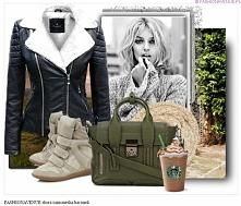 Stylizacja kurtka damska ramoneska skóra baranekz kołnierz zamek #103 fashionavenuePL