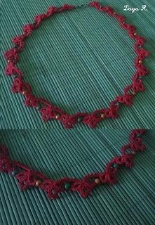 Naszyjnik - Frywolitka, czerwony z koralikami