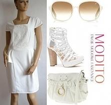 Piękna biała sukienka z baskinką. Po kliknięciu w zdjęcie więcej szczegółów.