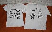 komplet koszulek dla pary, koszulki ślubne idealny prezent ręcznie malowane poduchyaguchy@wp.pl