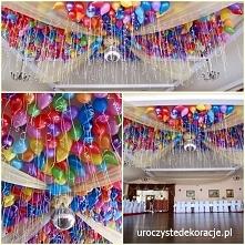 Balony z helem na weselu pod sufitem