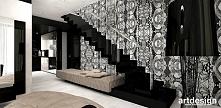 czarne schody dywanowe, dekoracyjna tapeta