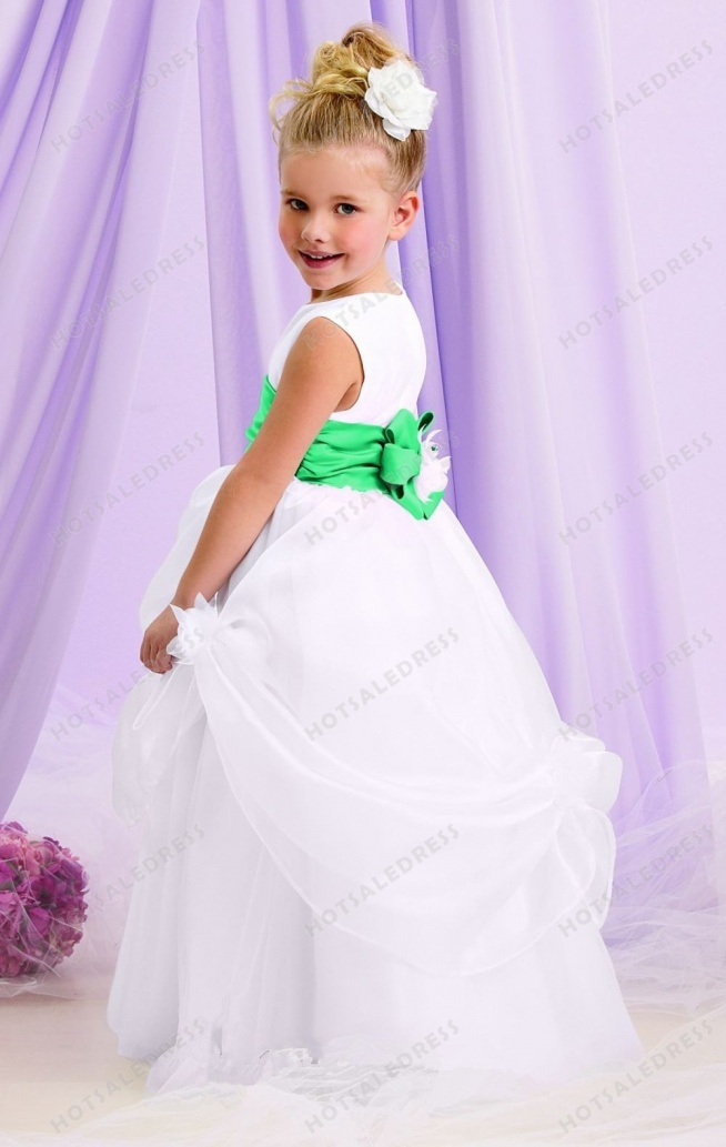 Sleeveless Tulle Organza Flower Girl Gown L132