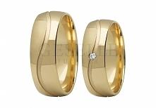 ST 286 Wspaniałe obrączki ślubne z żółtego złota pr. 585 z jednym lśniącym ka...