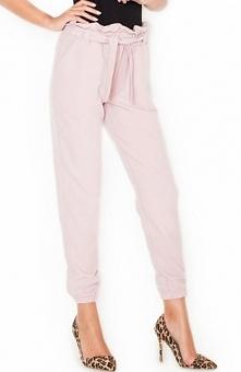 Katrus K296 spodnie róż Modne spodnie, wykonane z gładkiego materiału, na gumce