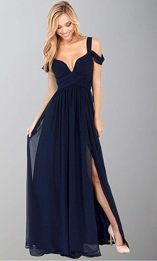 Dark Blue Off Shoulder Slit...