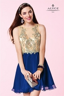 Alyce 3646 Short Homecoming Dress Cobalt Blue Sparkly Beaded Sale