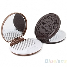 Cute Cookie Shaped Design Mirror Makeup Chocolate Comb 1DKN