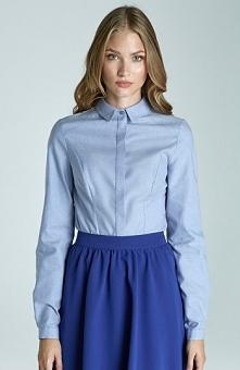 Nife K47 koszula błękitna Elegancka koszula, długi rękaw, kołnierzyk