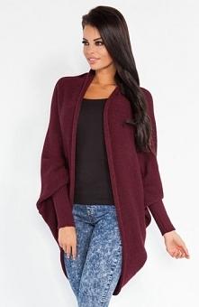 Fobya F206 sweter bordowy Piękna narzutka, idealna propozycja na chłodniejsze...