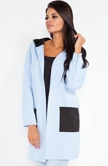 Fobya F211 sweter błękitny Stylowa narzutka damska, wykonana z miękkiej dzian...